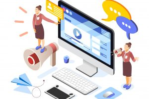 Brand Building Isometric Composition